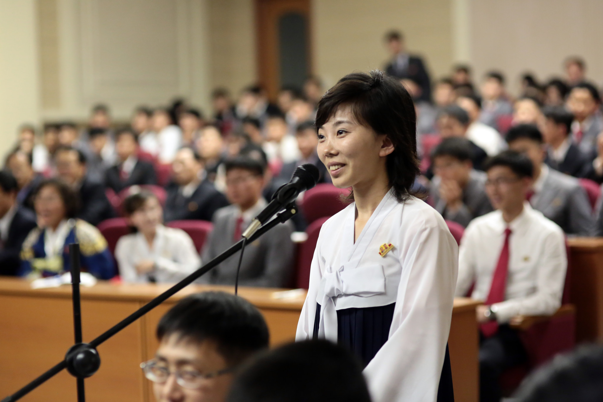 18 A student asking a question during the Q&A with a Nobel Laureate at Kim Il Sung University