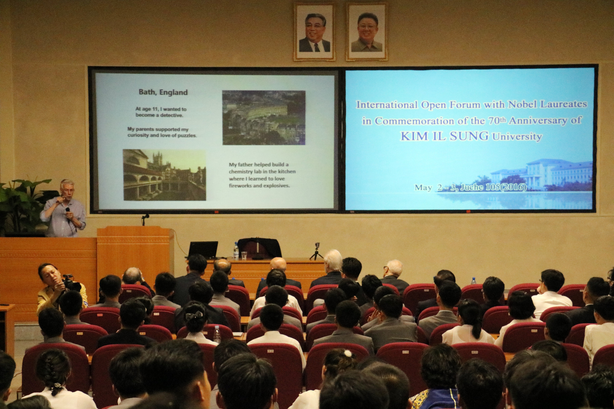 19 Dr. Sir Richard Roberts at his keynote speech at Kim Il Sung University