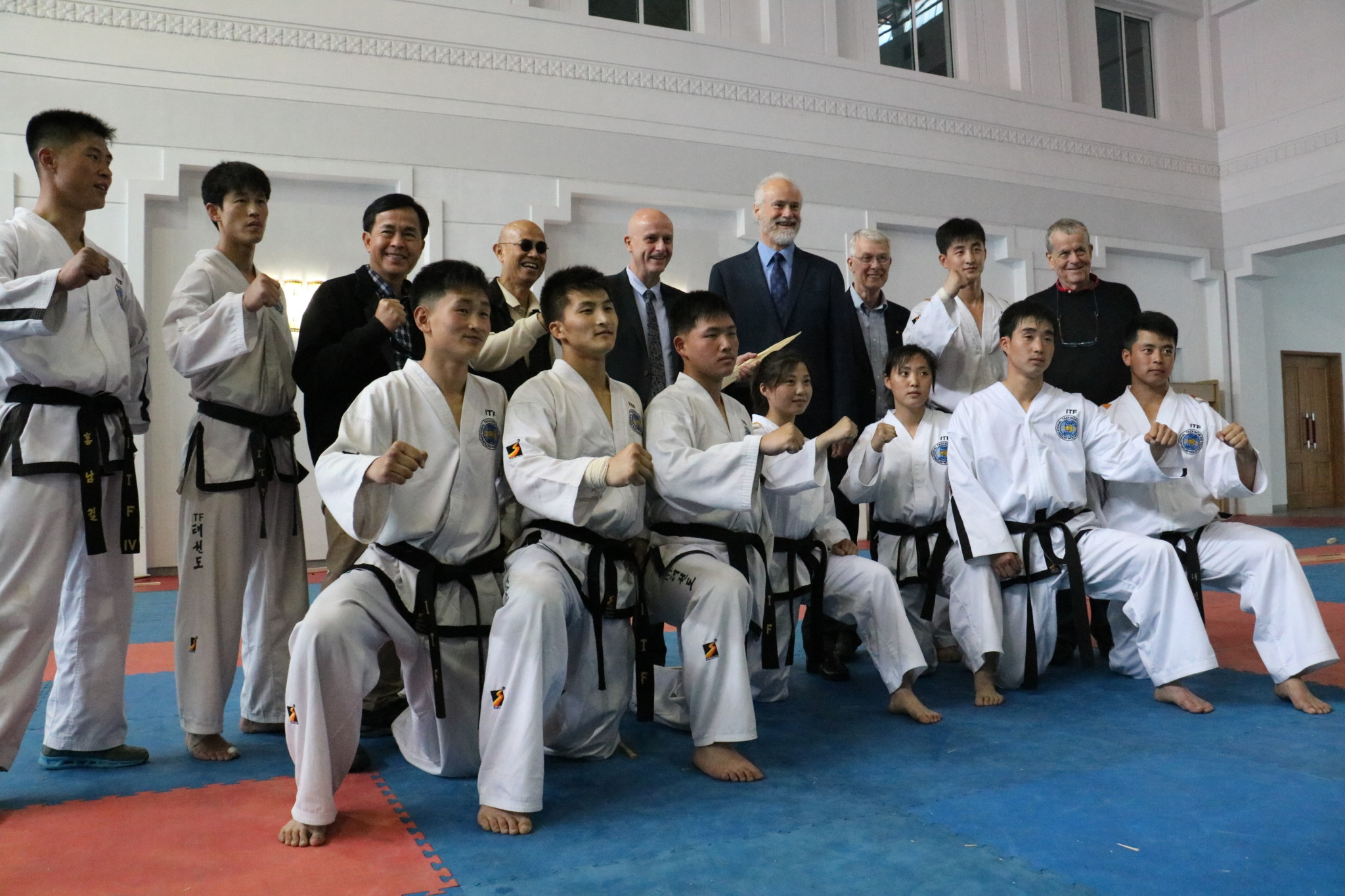 7 HSH Prince Alfred of Liechtenstein and Nobel Laureates Dr. Sir Richard Roberts and Prof. Aaron Ciechanover with IPF Chairman Uwe Morawetz at The Sacred Place of Taekwon-do