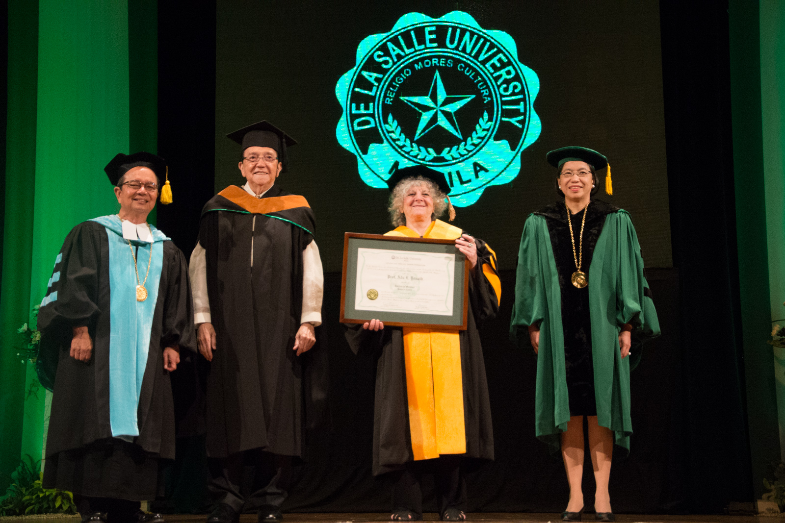 Chemistry Nobel Laureate Prof. Ada E. Yonath being awarded an honorary doctorate degree from De La Salle University in Manila