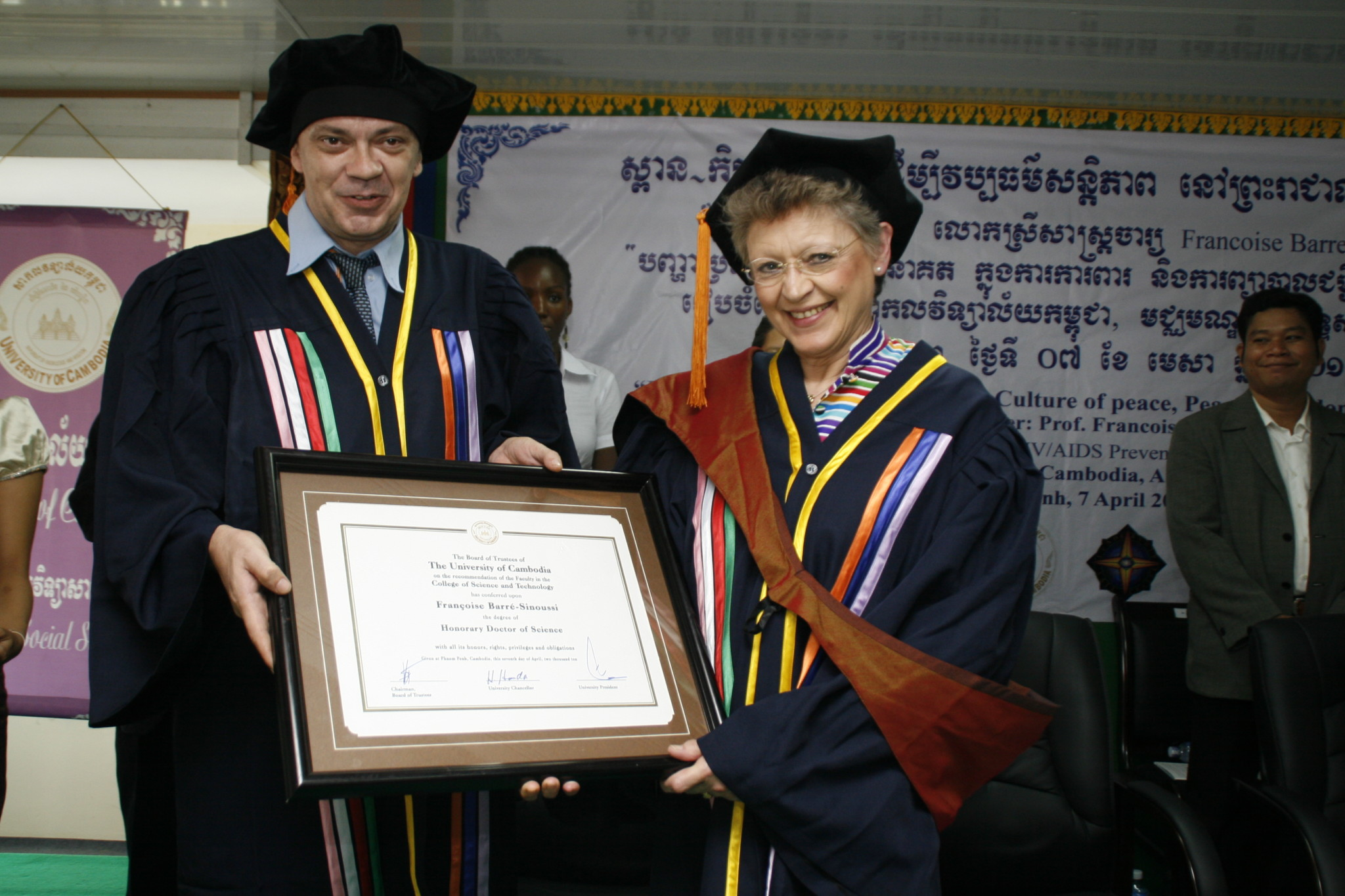 Medicine Nobel Laureate Prof. Francoise Barre-Sinoussi being awarded an Honorary Doctorate Degree in Phnom Penh
