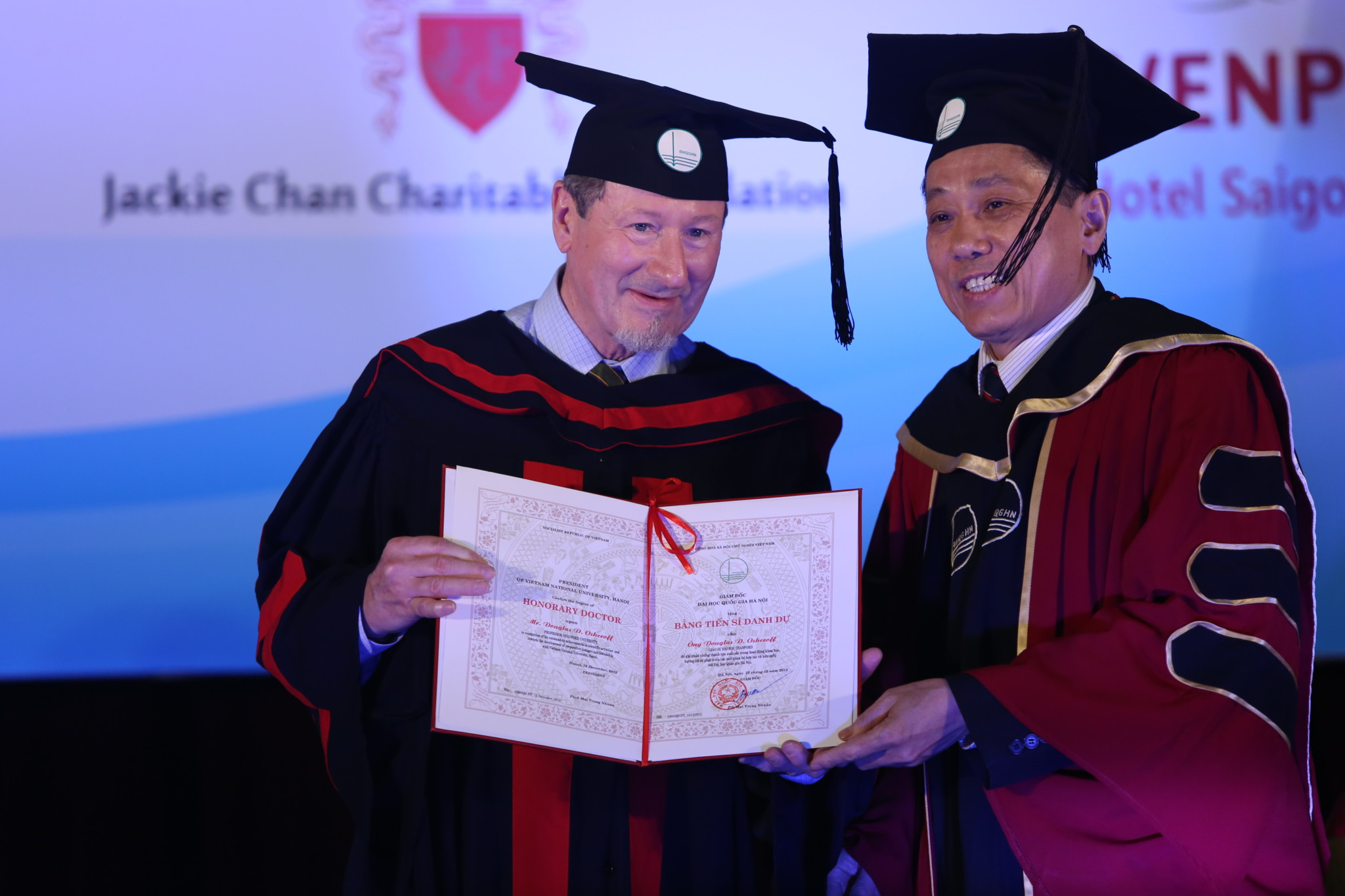 Physics Nobel Laureate Prof. Douglas D. Osheroff being awarded an honorary doctorate degree in Hanoi