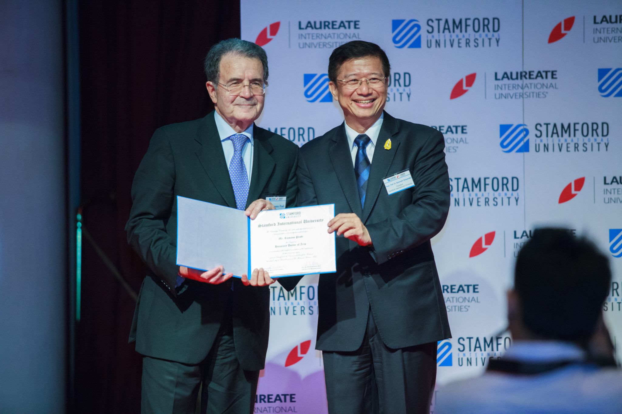President Romano Prodi being awarded an honorary doctorate degree from Stamford International University in Bangko